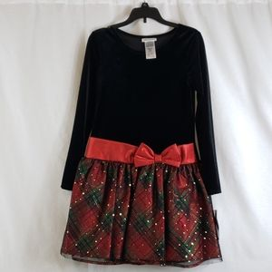 Bonnie Jean black/red/gold/green holiday dress